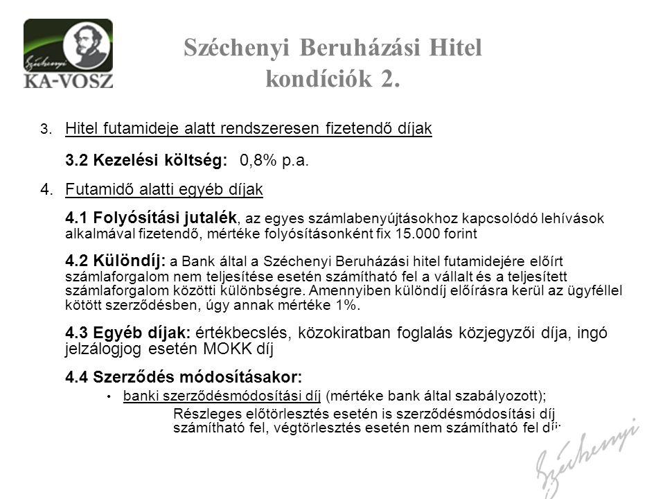 Széchenyi Beruházási Hitel kondíciók 2. 3.