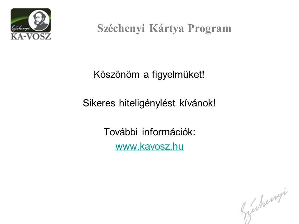 Széchenyi Kártya Program Köszönöm a figyelmüket! Sikeres hiteligénylést kívánok! További információk: www.kavosz.hu