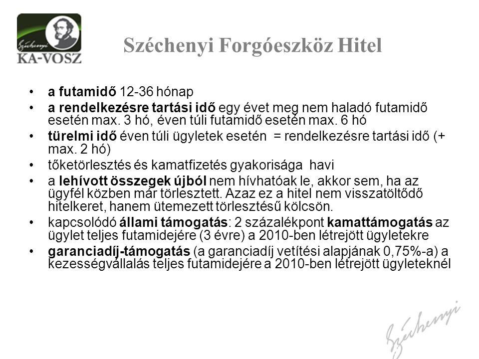 Széchenyi Forgóeszköz Hitel a futamidő 12-36 hónap a rendelkezésre tartási idő egy évet meg nem haladó futamidő esetén max. 3 hó, éven túli futamidő e