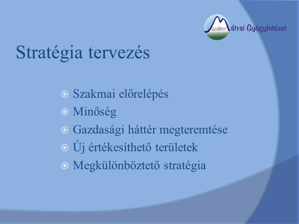 Stratégia tervezés  Szakmai előrelépés  Minőség  Gazdasági háttér megteremtése  Új értékesíthető területek  Megkülönböztető stratégia