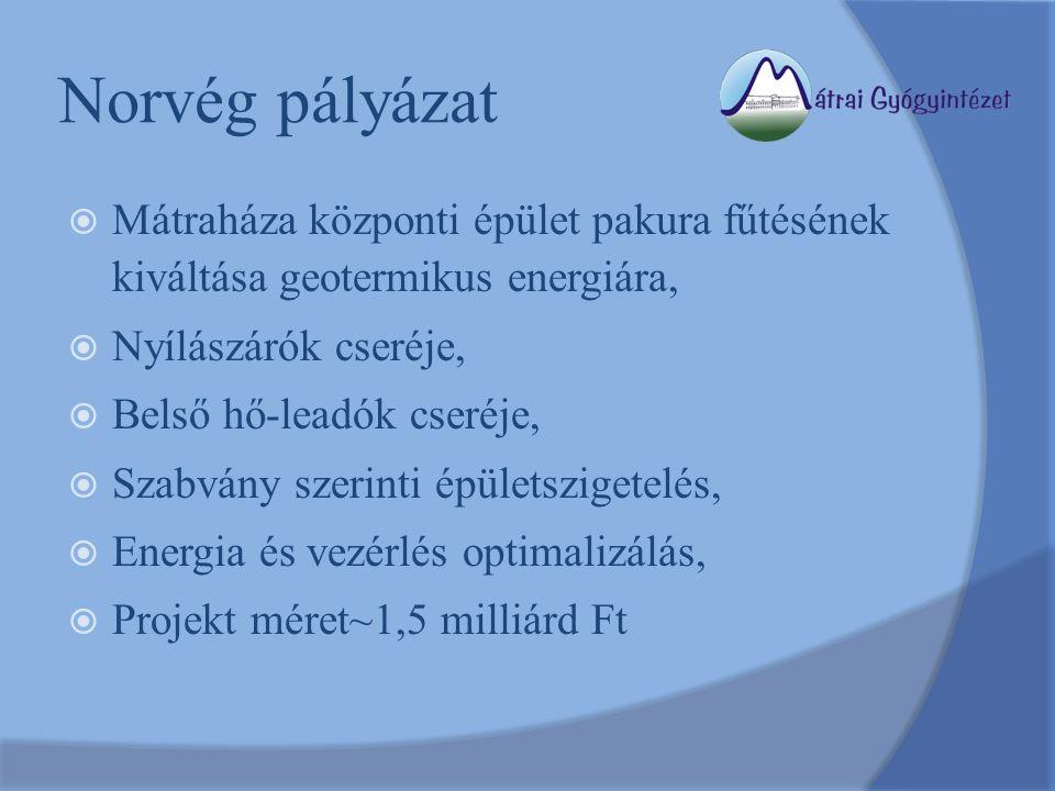 Norvég pályázat  Mátraháza központi épület pakura fűtésének kiváltása geotermikus energiára,  Nyílászárók cseréje,  Belső hő-leadók cseréje,  Szabvány szerinti épületszigetelés,  Energia és vezérlés optimalizálás,  Projekt méret~1,5 milliárd Ft