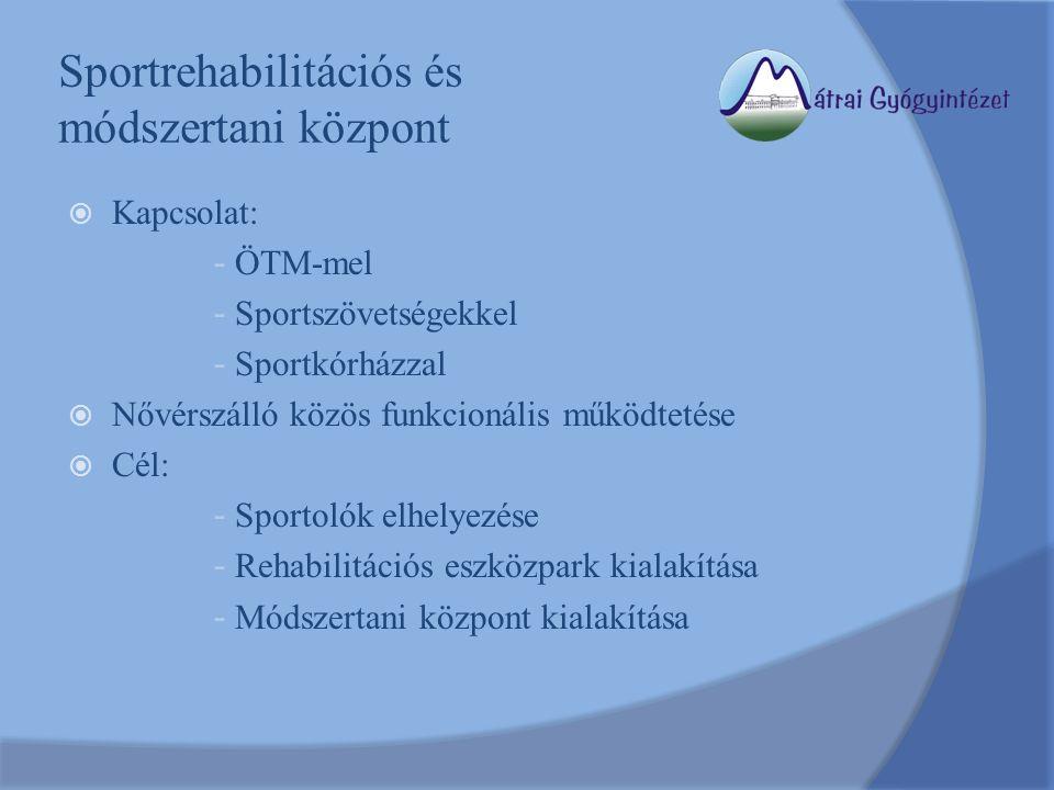 Sportrehabilitációs és módszertani központ  Kapcsolat: - ÖTM-mel - Sportszövetségekkel - Sportkórházzal  Nővérszálló közös funkcionális működtetése  Cél: - Sportolók elhelyezése - Rehabilitációs eszközpark kialakítása - Módszertani központ kialakítása