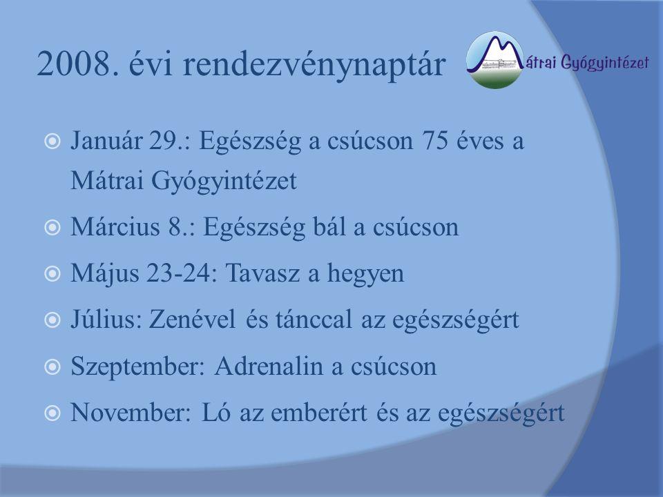 2008. évi rendezvénynaptár  Január 29.: Egészség a csúcson 75 éves a Mátrai Gyógyintézet  Március 8.: Egészség bál a csúcson  Május 23-24: Tavasz a