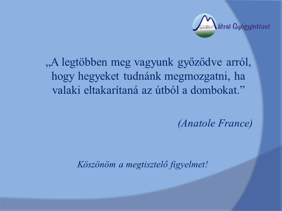"""""""A legtöbben meg vagyunk győződve arról, hogy hegyeket tudnánk megmozgatni, ha valaki eltakarítaná az útból a dombokat. (Anatole France) Köszönöm a megtisztelő figyelmet!"""