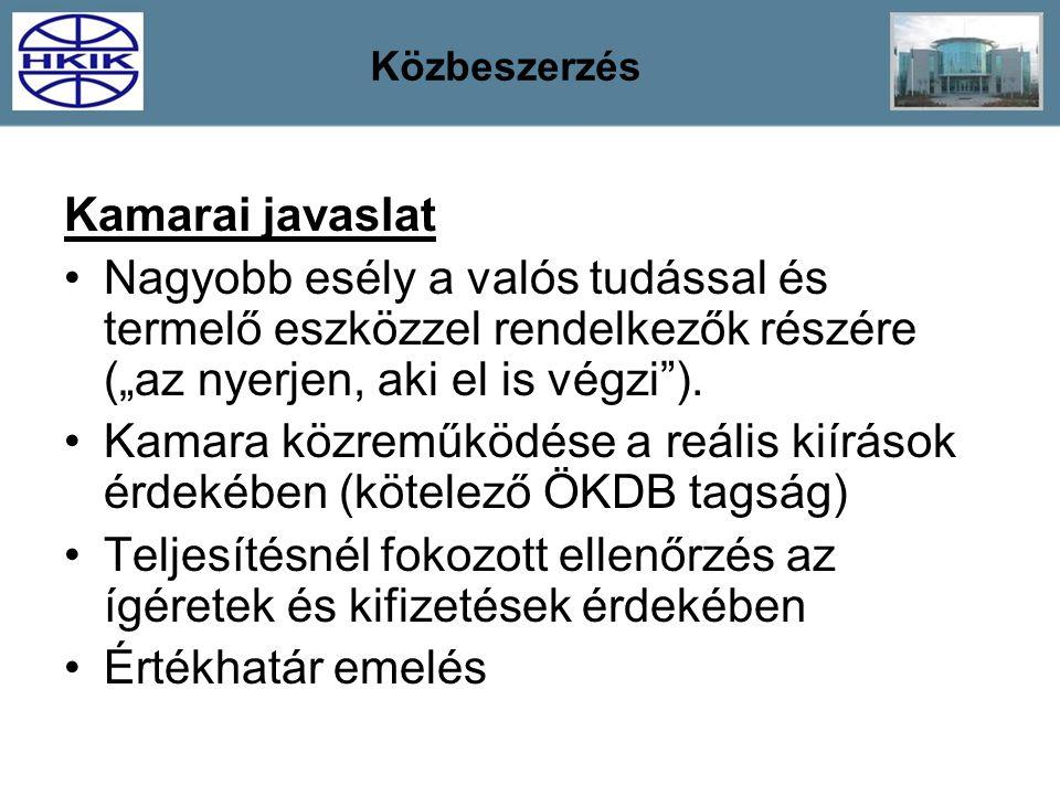 """Közbeszerzés Kamarai javaslat Nagyobb esély a valós tudással és termelő eszközzel rendelkezők részére (""""az nyerjen, aki el is végzi""""). Kamara közreműk"""