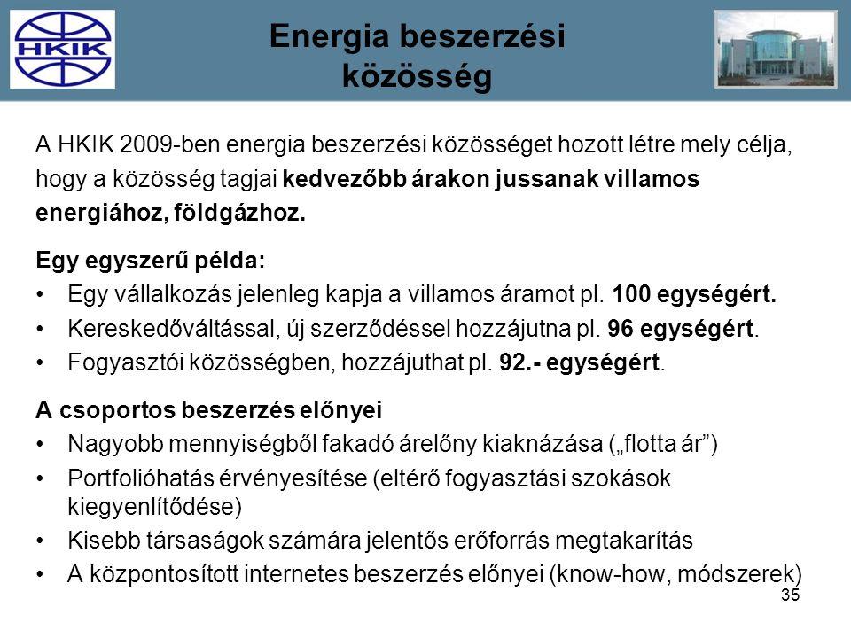 35 A HKIK 2009-ben energia beszerzési közösséget hozott létre mely célja, hogy a közösség tagjai kedvezőbb árakon jussanak villamos energiához, földgá