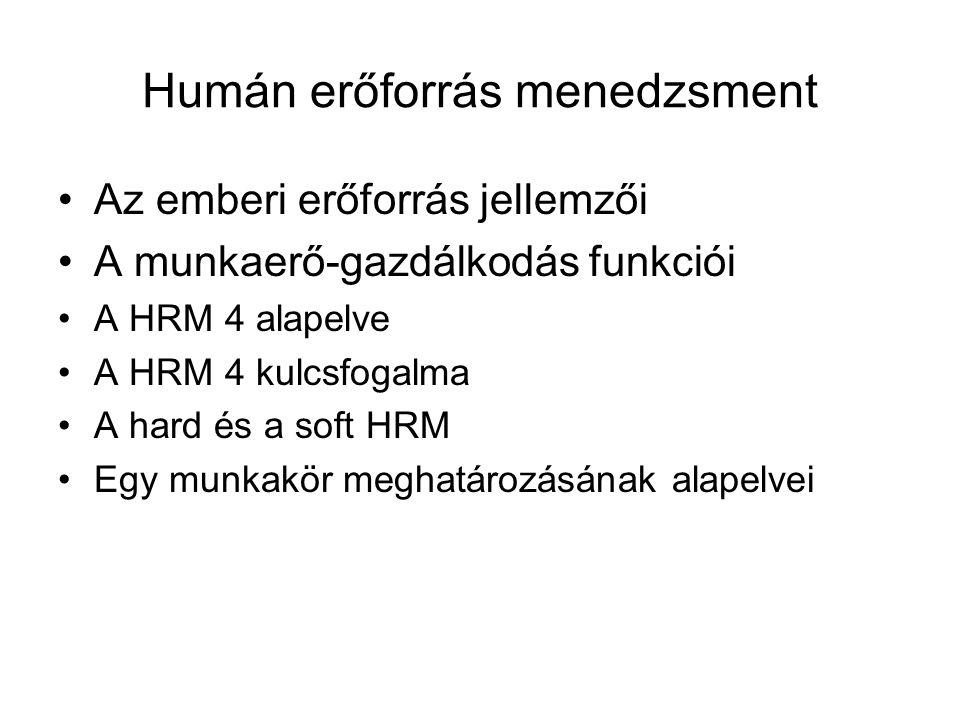 Humán erőforrás menedzsment Az emberi erőforrás jellemzői A munkaerő-gazdálkodás funkciói A HRM 4 alapelve A HRM 4 kulcsfogalma A hard és a soft HRM Egy munkakör meghatározásának alapelvei