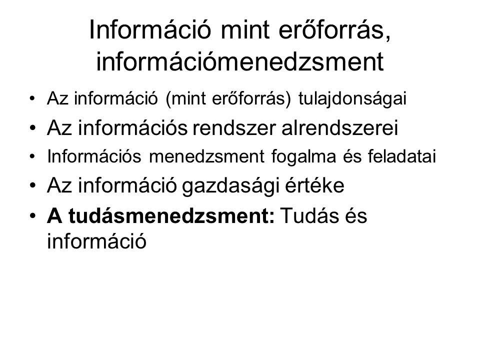 Információ mint erőforrás, információmenedzsment Az információ (mint erőforrás) tulajdonságai Az információs rendszer alrendszerei Információs menedzsment fogalma és feladatai Az információ gazdasági értéke A tudásmenedzsment: Tudás és információ