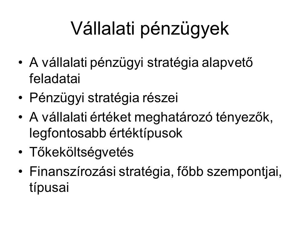 Vállalati pénzügyek A vállalati pénzügyi stratégia alapvető feladatai Pénzügyi stratégia részei A vállalati értéket meghatározó tényezők, legfontosabb értéktípusok Tőkeköltségvetés Finanszírozási stratégia, főbb szempontjai, típusai