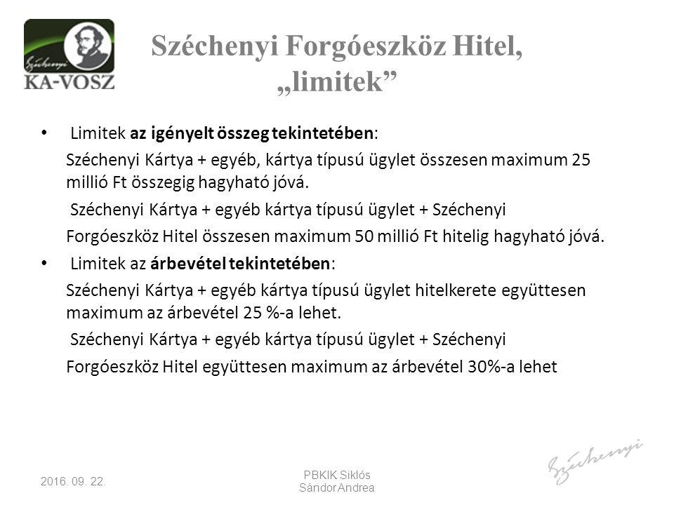 """Széchenyi Forgóeszköz Hitel, """"limitek Limitek az igényelt összeg tekintetében: Széchenyi Kártya + egyéb, kártya típusú ügylet összesen maximum 25 millió Ft összegig hagyható jóvá."""