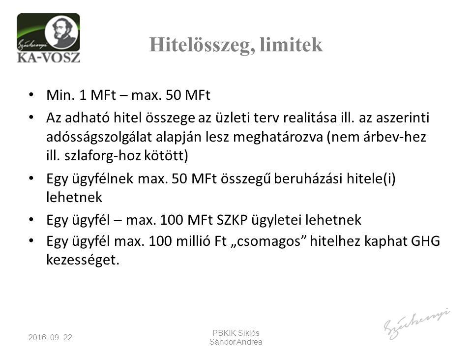 Hitelösszeg, limitek Min. 1 MFt – max.