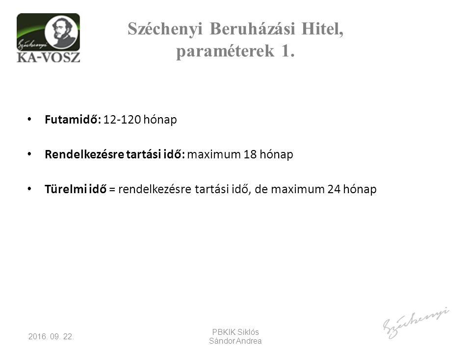 Széchenyi Beruházási Hitel, paraméterek 1.