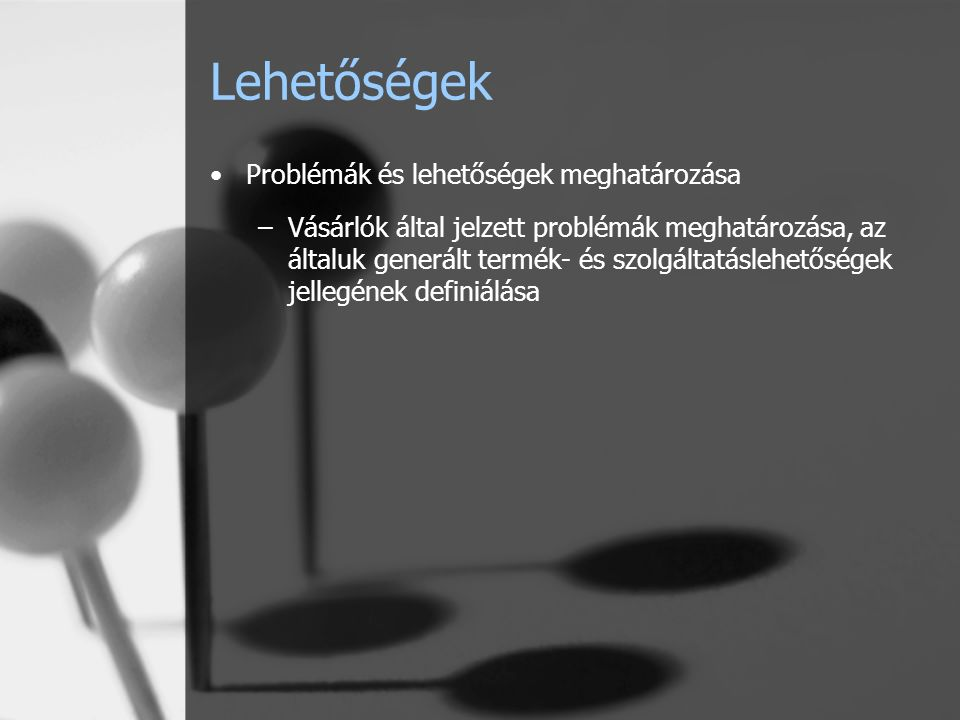 Lehetőségek Problémák és lehetőségek meghatározása –Vásárlók által jelzett problémák meghatározása, az általuk generált termék- és szolgáltatáslehetőségek jellegének definiálása