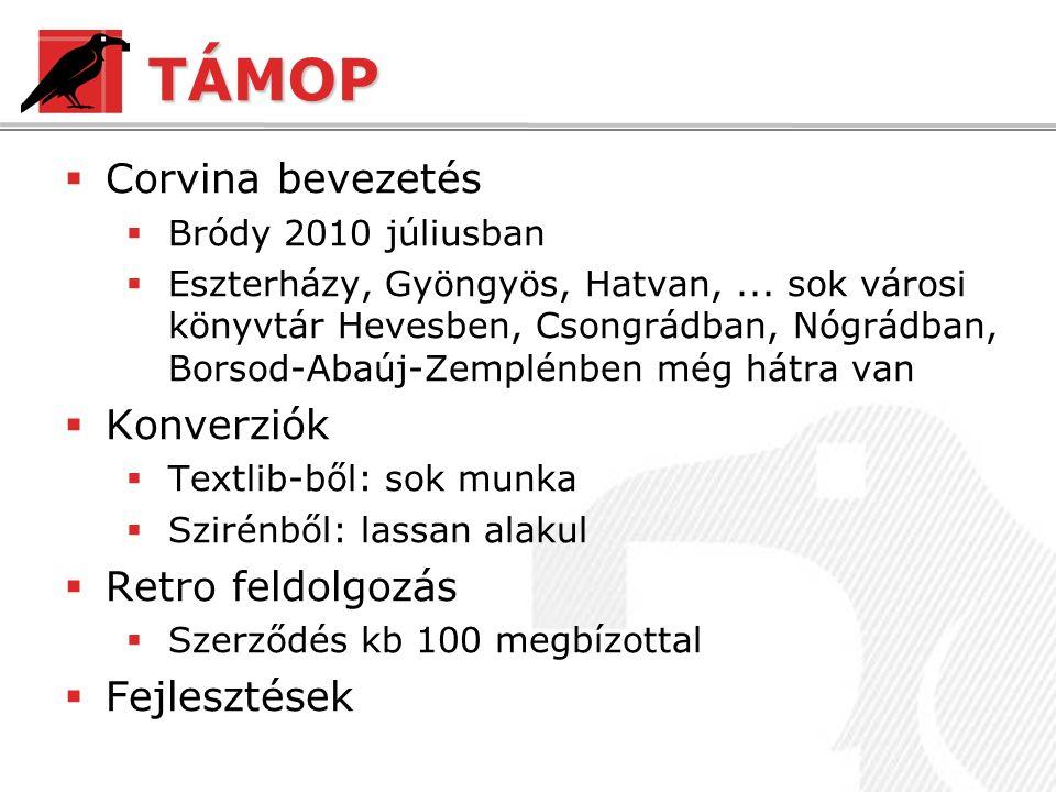 TÁMOP  Corvina bevezetés  Bródy 2010 júliusban  Eszterházy, Gyöngyös, Hatvan,...