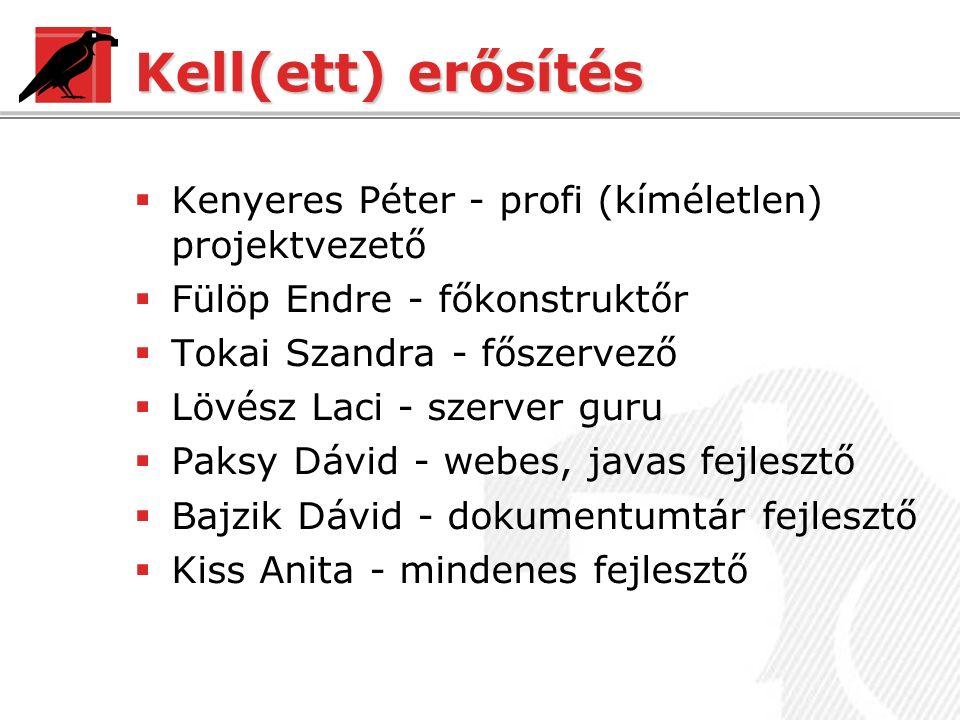 Kell(ett) erősítés  Kenyeres Péter - profi (kíméletlen) projektvezető  Fülöp Endre - főkonstruktőr  Tokai Szandra - főszervező  Lövész Laci - szerver guru  Paksy Dávid - webes, javas fejlesztő  Bajzik Dávid - dokumentumtár fejlesztő  Kiss Anita - mindenes fejlesztő