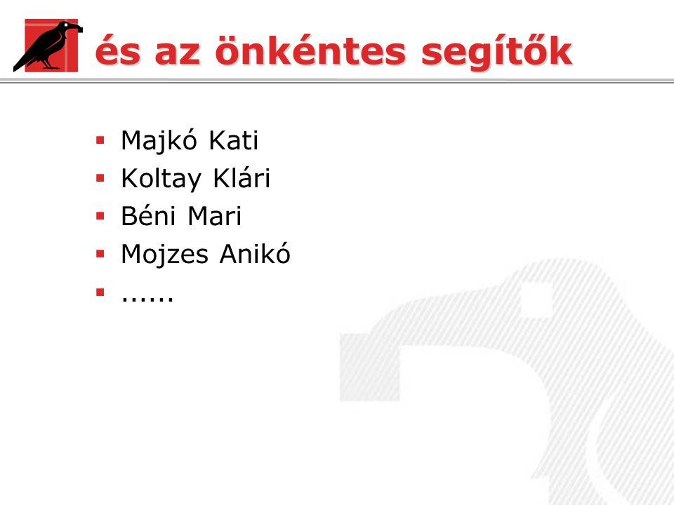 és az önkéntes segítők  Majkó Kati  Koltay Klári  Béni Mari  Mojzes Anikó ......