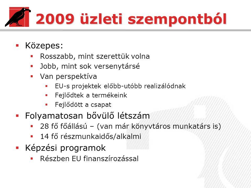 2009 üzleti szempontból  Közepes:  Rosszabb, mint szerettük volna  Jobb, mint sok versenytársé  Van perspektíva  EU-s projektek előbb-utóbb realizálódnak  Fejlődtek a termékeink  Fejlődött a csapat  Folyamatosan bővülő létszám  28 fő főállású – (van már könyvtáros munkatárs is)  14 fő részmunkaidős/alkalmi  Képzési programok  Részben EU finanszírozással