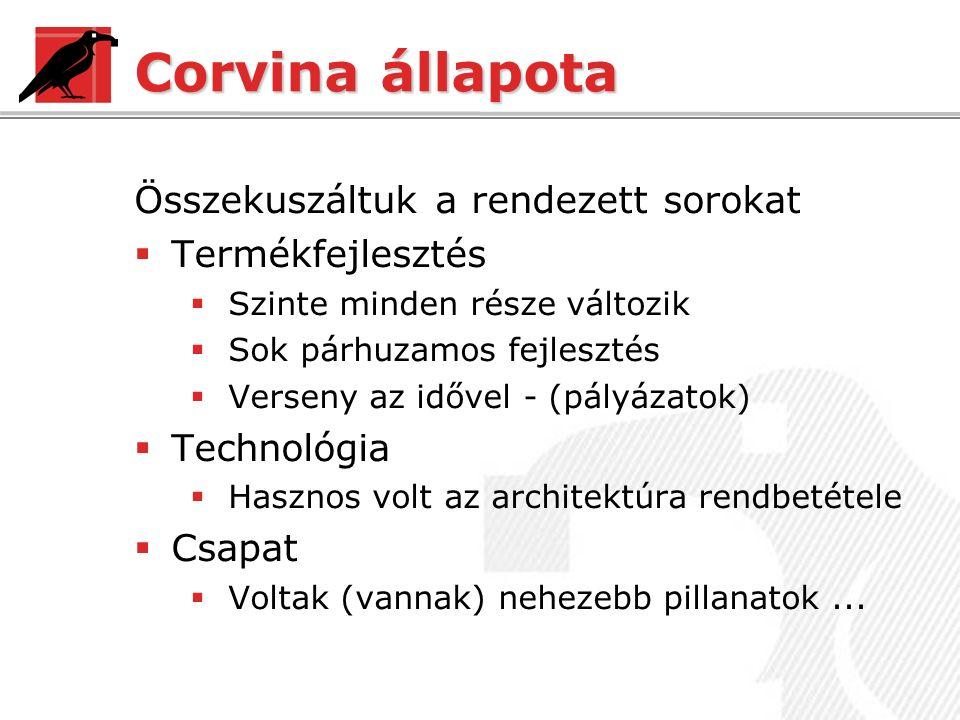 Corvina állapota Összekuszáltuk a rendezett sorokat  Termékfejlesztés  Szinte minden része változik  Sok párhuzamos fejlesztés  Verseny az idővel - (pályázatok)  Technológia  Hasznos volt az architektúra rendbetétele  Csapat  Voltak (vannak) nehezebb pillanatok...
