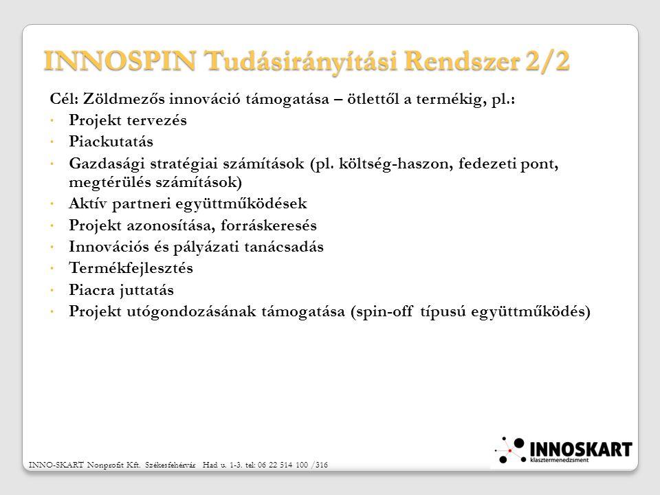 INNOSPIN Tudásirányítási Rendszer 2/2 Cél: Zöldmezős innováció támogatása – ötlettől a termékig, pl.:  Projekt tervezés  Piackutatás  Gazdasági stratégiai számítások (pl.