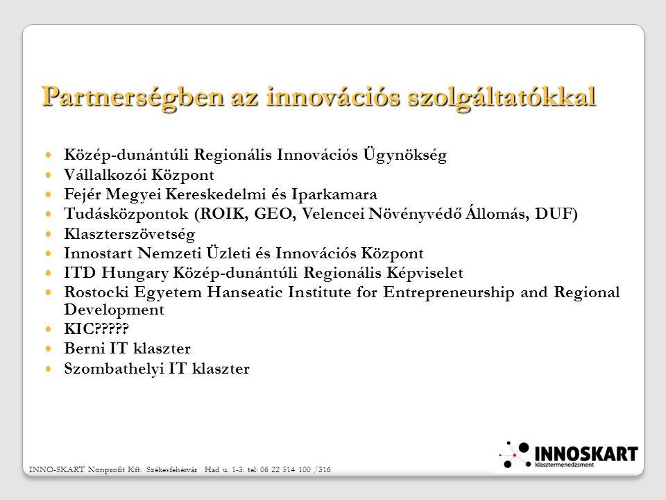 Partnerségben az innovációs szolgáltatókkal Közép-dunántúli Regionális Innovációs Ügynökség Vállalkozói Központ Fejér Megyei Kereskedelmi és Iparkamara Tudásközpontok (ROIK, GEO, Velencei Növényvédő Állomás, DUF) Klaszterszövetség Innostart Nemzeti Üzleti és Innovációs Központ ITD Hungary Közép-dunántúli Regionális Képviselet Rostocki Egyetem Hanseatic Institute for Entrepreneurship and Regional Development KIC .