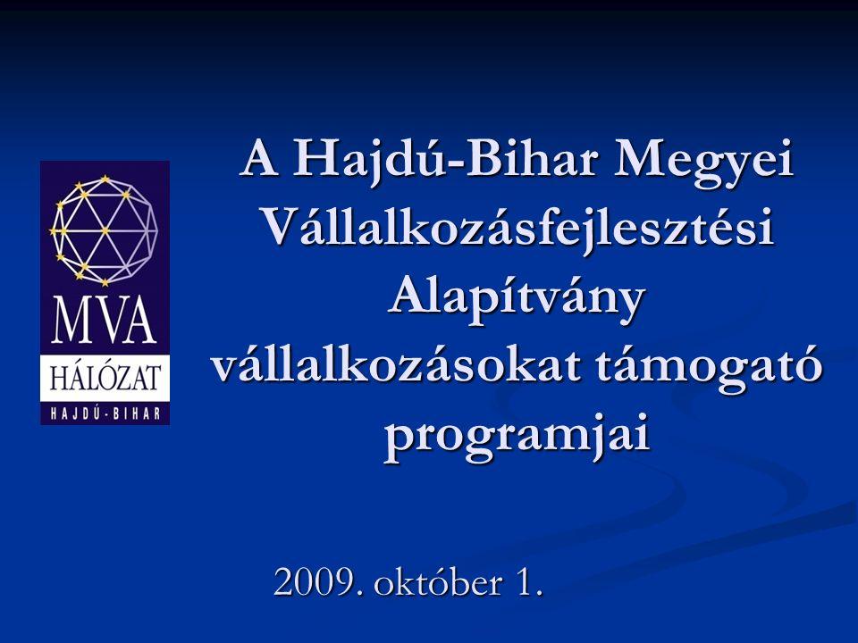 A Hajdú-Bihar Megyei Vállalkozásfejlesztési Alapítvány vállalkozásokat támogató programjai 2009.