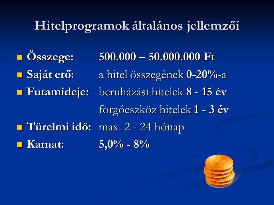 Hitelprogramok általános jellemzői Összege: 500.000 – 50.000.000 Ft Összege: 500.000 – 50.000.000 Ft Saját erő: a hitel összegének 0-20%-a Saját erő: a hitel összegének 0-20%-a Futamideje: beruházási hitelek 8 - 15 év Futamideje: beruházási hitelek 8 - 15 év forgóeszköz hitelek 1 - 3 év forgóeszköz hitelek 1 - 3 év Türelmi idő: max.