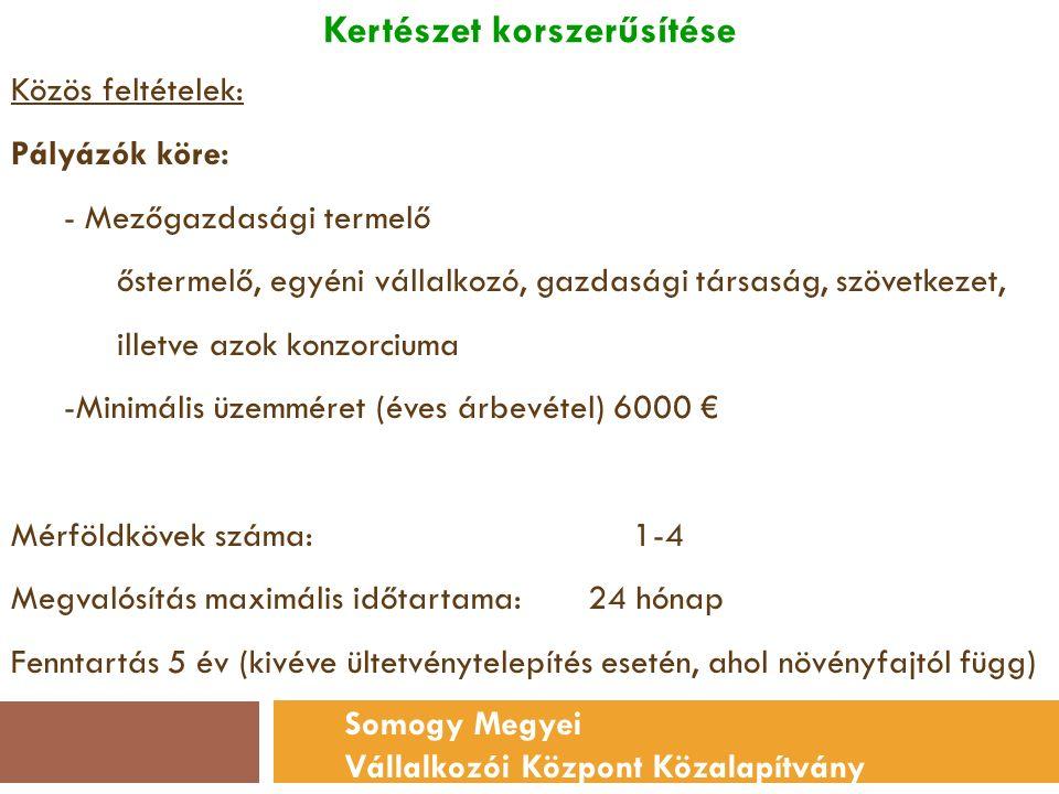 Kertészet korszerűsítése Somogy Megyei Vállalkozói Központ Közalapítvány Közös feltételek: Pályázók köre: - Mezőgazdasági termelő őstermelő, egyéni vállalkozó, gazdasági társaság, szövetkezet, illetve azok konzorciuma -Minimális üzemméret (éves árbevétel) 6000 € Mérföldkövek száma: 1-4 Megvalósítás maximális időtartama: 24 hónap Fenntartás 5 év (kivéve ültetvénytelepítés esetén, ahol növényfajtól függ)