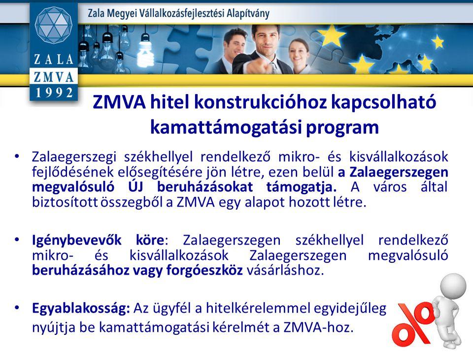 ZMVA hitel konstrukcióhoz kapcsolható kamattámogatási program Zalaegerszegi székhellyel rendelkező mikro- és kisvállalkozások fejlődésének elősegítésére jön létre, ezen belül a Zalaegerszegen megvalósuló ÚJ beruházásokat támogatja.