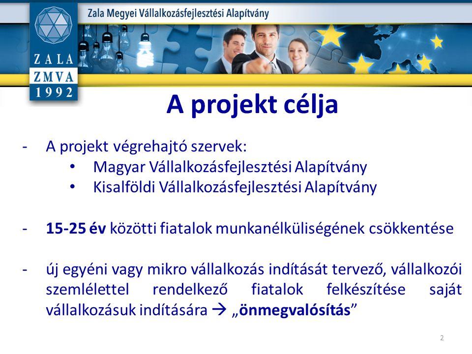 2 A projekt célja -A projekt végrehajtó szervek: Magyar Vállalkozásfejlesztési Alapítvány Kisalföldi Vállalkozásfejlesztési Alapítvány -15-25 év közöt
