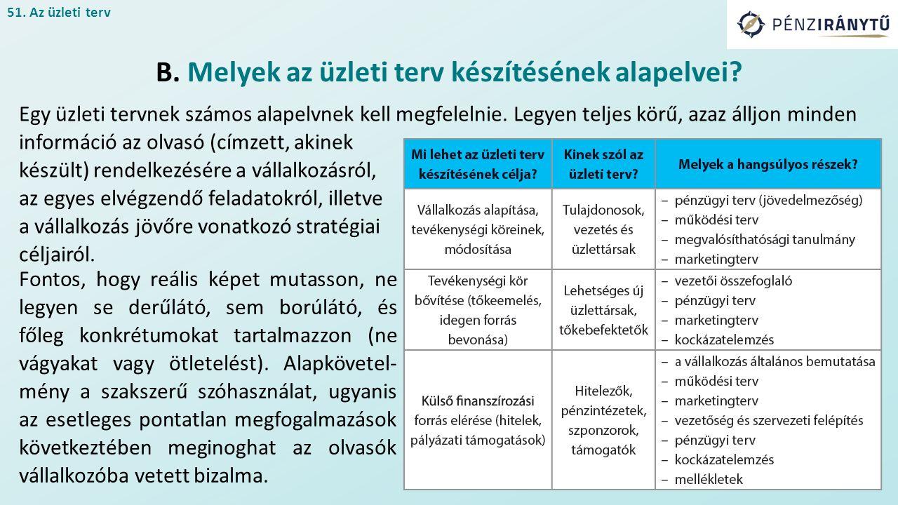 51.Az üzleti terv B. Melyek az üzleti terv készítésének alapelvei.