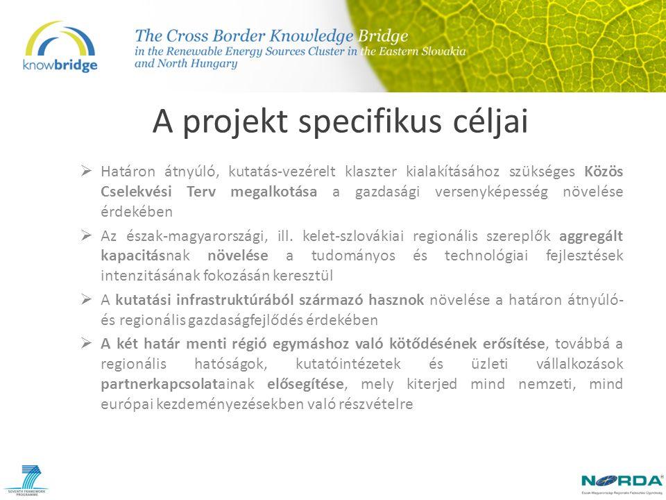 A projekt specifikus céljai  Regionális- és határon átnyúló kutatási- és technológiafejlesztési politika kialakítása és fejlesztése  A regionális szereplők európai kutatási programokban való sikeres részvételhez szükséges potenciáljának maximalizálása  A kevésbé fejlett kutatási profillal rendelkező régiók tapasztaltabb partnerek általi mentorálásának megvalósítása, mely kölcsönös tapasztalatcserén és jó gyakorlatok megosztásán alapul  Elősegíteni a két határ menti régió CO2-kibocsájtásának csökkentését