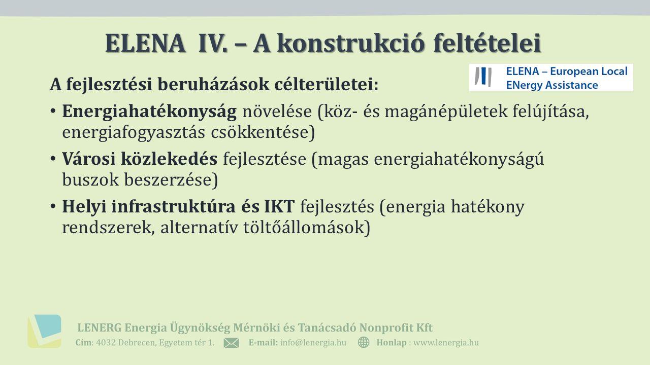 A fejlesztési beruházások célterületei: Energiahatékonyság növelése (köz- és magánépületek felújítása, energiafogyasztás csökkentése) Városi közlekedés fejlesztése (magas energiahatékonyságú buszok beszerzése) Helyi infrastruktúra és IKT fejlesztés (energia hatékony rendszerek, alternatív töltőállomások) ELENA IV.