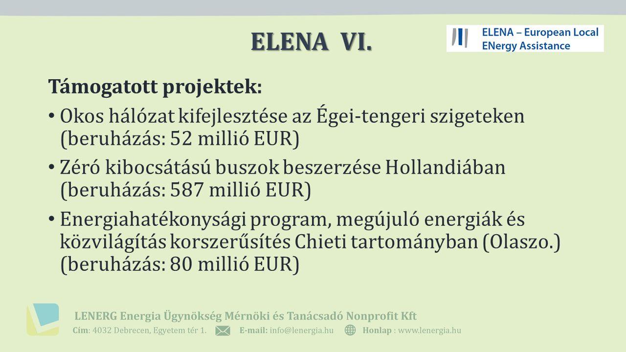 Támogatott projektek: Okos hálózat kifejlesztése az Égei-tengeri szigeteken (beruházás: 52 millió EUR) Zéró kibocsátású buszok beszerzése Hollandiában (beruházás: 587 millió EUR) Energiahatékonysági program, megújuló energiák és közvilágítás korszerűsítés Chieti tartományban (Olaszo.) (beruházás: 80 millió EUR) ELENA VI.