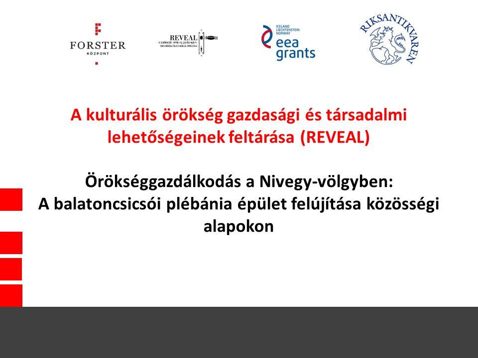 A kulturális örökség gazdasági és társadalmi lehetőségeinek feltárása (REVEAL) Örökséggazdálkodás a Nivegy-völgyben: A balatoncsicsói plébánia épület felújítása közösségi alapokon