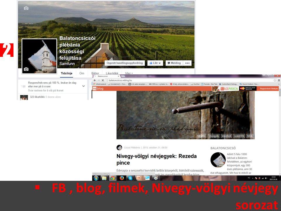  FB, blog, filmek, Nivegy-völgyi névjegy sorozat 2