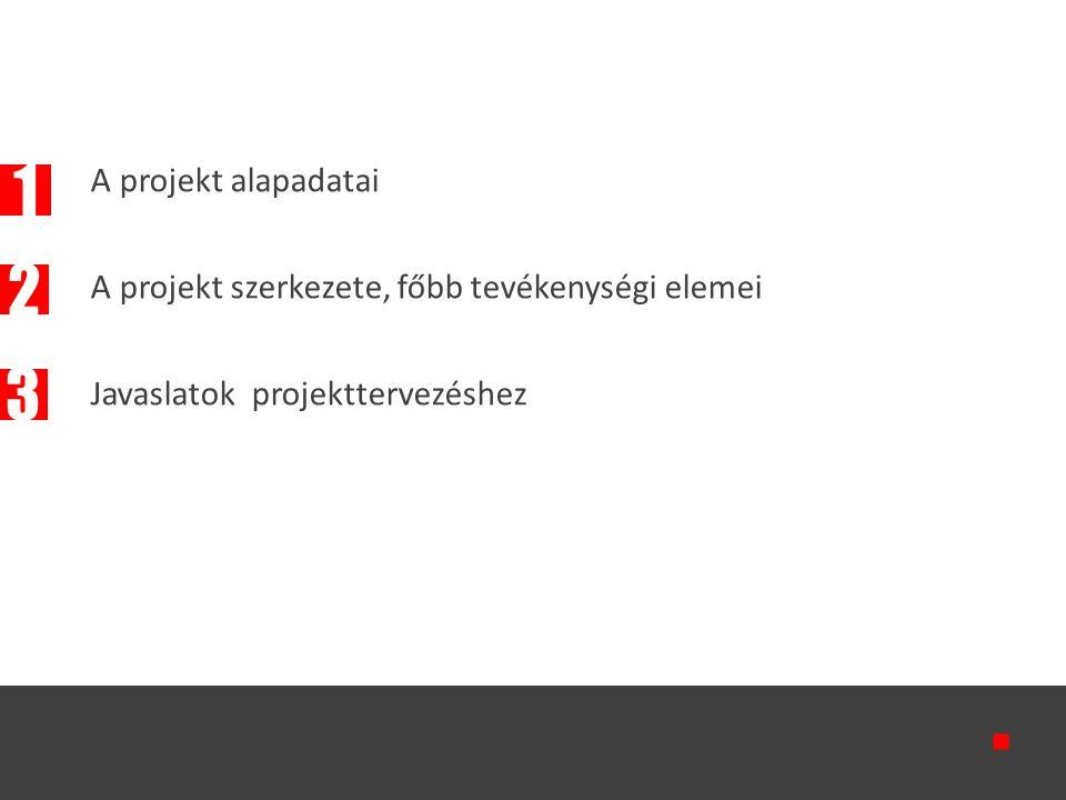 A projekt alapadatai A projekt szerkezete, főbb tevékenységi elemei Javaslatok projekttervezéshez  2 1 3