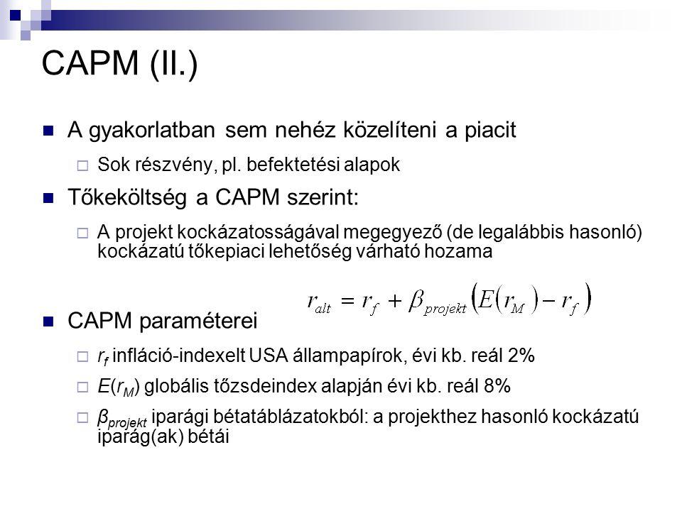 CAPM (II.) A gyakorlatban sem nehéz közelíteni a piacit  Sok részvény, pl.