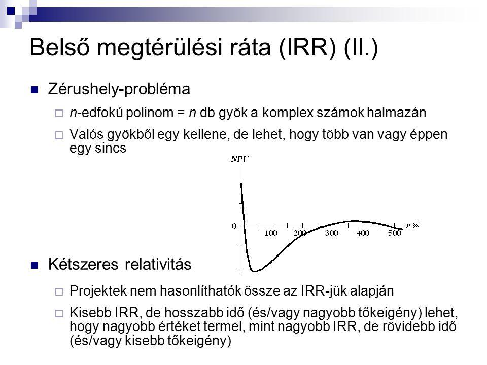 Zérushely-probléma  n-edfokú polinom = n db gyök a komplex számok halmazán  Valós gyökből egy kellene, de lehet, hogy több van vagy éppen egy sincs Kétszeres relativitás  Projektek nem hasonlíthatók össze az IRR-jük alapján  Kisebb IRR, de hosszabb idő (és/vagy nagyobb tőkeigény) lehet, hogy nagyobb értéket termel, mint nagyobb IRR, de rövidebb idő (és/vagy kisebb tőkeigény) Belső megtérülési ráta (IRR) (II.)