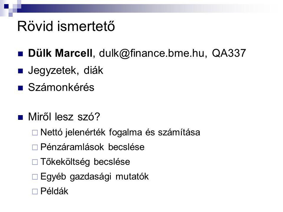 Rövid ismertető Dülk Marcell, dulk@finance.bme.hu, QA337 Jegyzetek, diák Számonkérés Miről lesz szó.