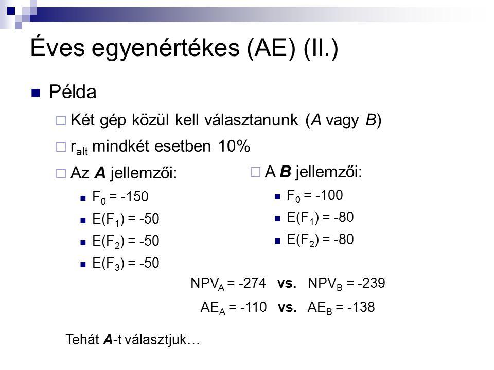 Példa  Két gép közül kell választanunk (A vagy B)  r alt mindkét esetben 10%  Az A jellemzői: F 0 = -150 E(F 1 ) = -50 E(F 2 ) = -50 E(F 3 ) = -50 Éves egyenértékes (AE) (II.)  A B jellemzői: F 0 = -100 E(F 1 ) = -80 E(F 2 ) = -80 NPV A = -274 vs.