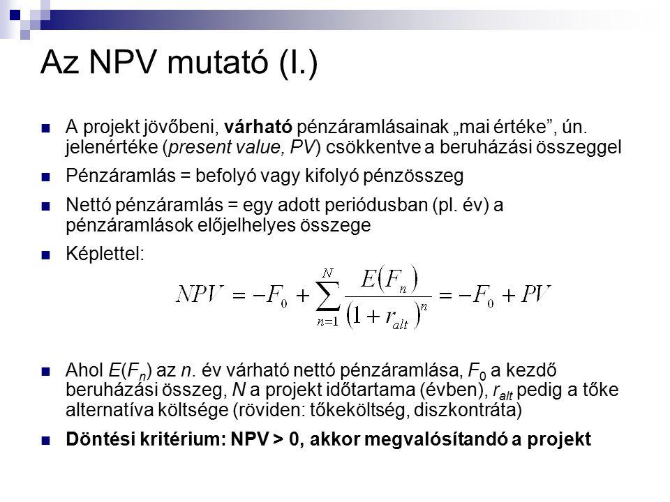 """Az NPV mutató (I.) A projekt jövőbeni, várható pénzáramlásainak """"mai értéke , ún."""