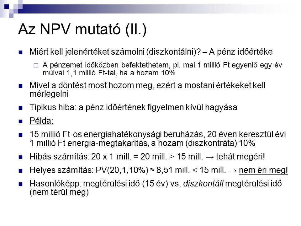Az NPV mutató (II.) Miért kell jelenértéket számolni (diszkontálni).