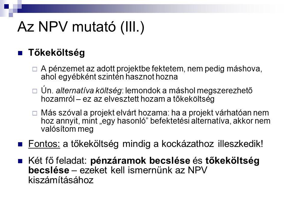 Az NPV mutató (III.) Tőkeköltség  A pénzemet az adott projektbe fektetem, nem pedig máshova, ahol egyébként szintén hasznot hozna  Ún.
