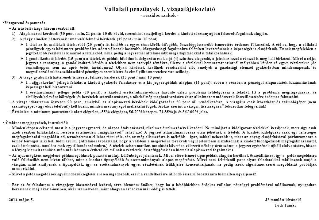 11.Finanszírozás alapjai II.