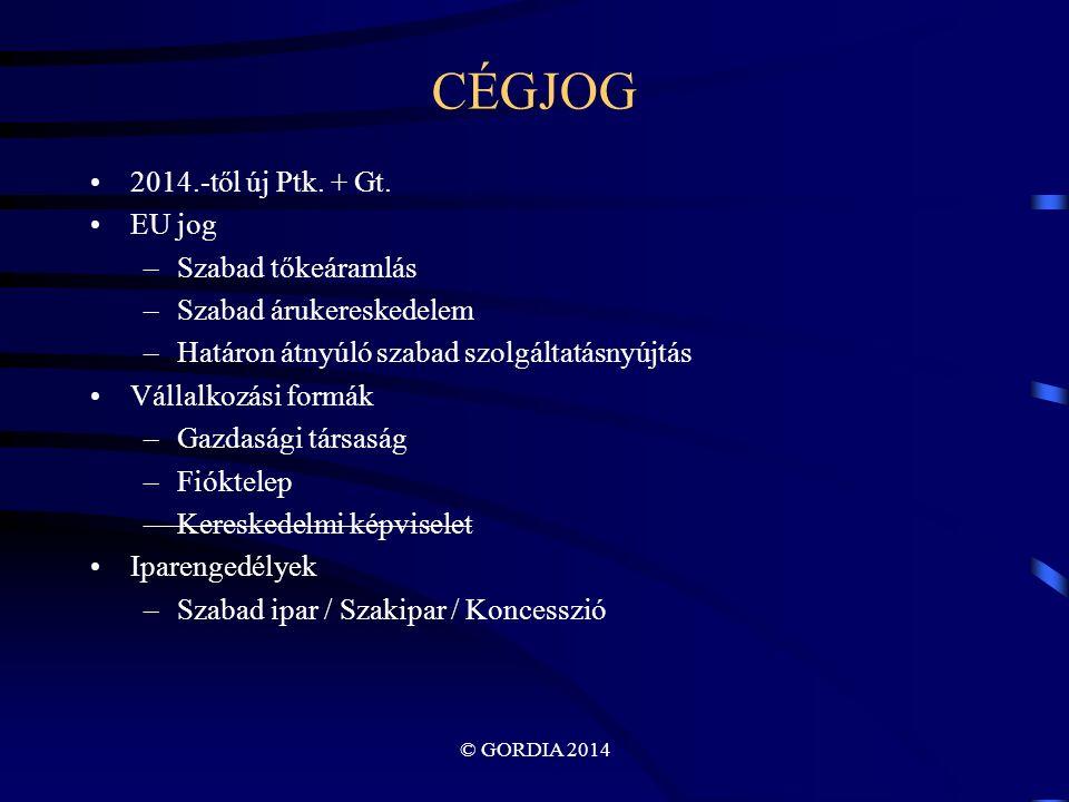© GORDIA 2014 CÉGJOG 2014.-től új Ptk. + Gt.