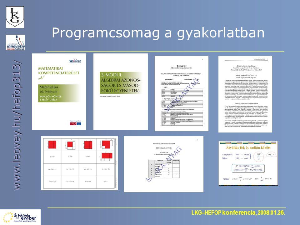 LKG–HEFOP konferencia, 200 8.0 1.2 6. www.leovey.hu/hefop313 / Programcsomag a gyakorlatban