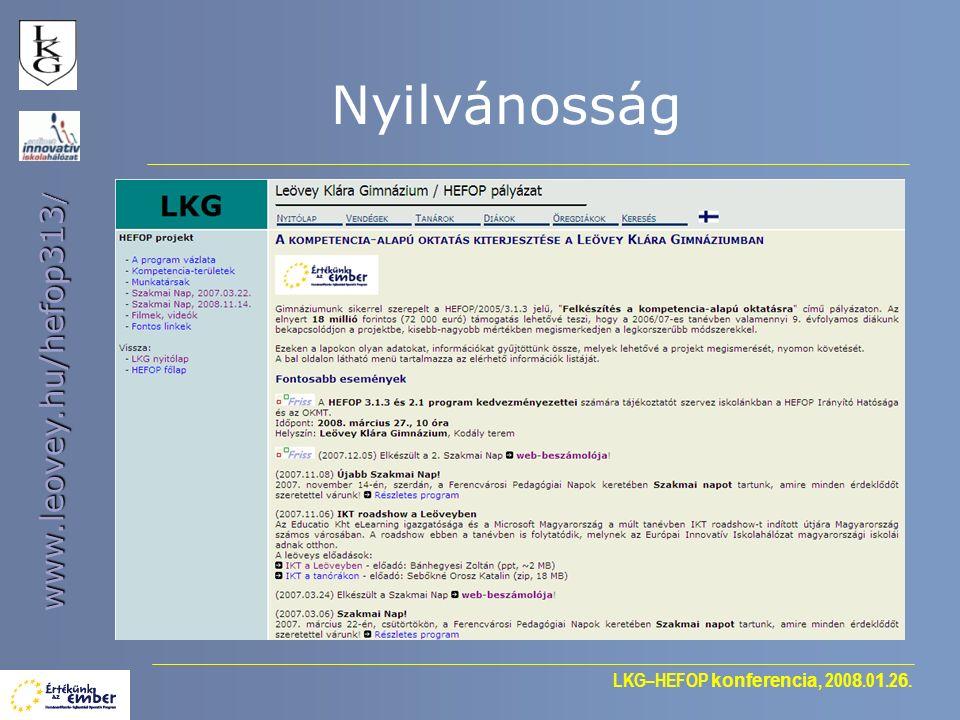 LKG–HEFOP konferencia, 200 8.0 1.2 6. www.leovey.hu/hefop313 / Nyilvánosság