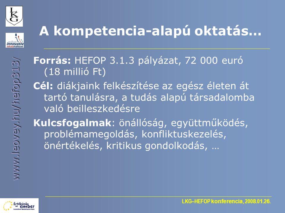 LKG–HEFOP konferencia, 200 8.0 1.2 6. www.leovey.hu/hefop313 / A kompetencia-alapú oktatás… Forrás: HEFOP 3.1.3 pályázat, 72 000 euró (18 millió Ft) C