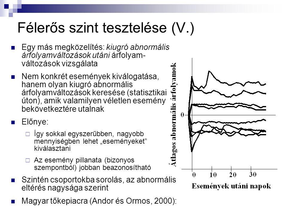 """Félerős szint tesztelése (V.) Egy más megközelítés: kiugró abnormális árfolyamváltozások utáni árfolyam- változások vizsgálata Nem konkrét események kiválogatása, hanem olyan kiugró abnormális árfolyamváltozások keresése (statisztikai úton), amik valamilyen véletlen esemény bekövetkeztére utalnak Előnye:  Így sokkal egyszerűbben, nagyobb mennyiségben lehet """"eseményeket kiválasztani  Az esemény pillanata (bizonyos szempontból) jobban beazonosítható Szintén csoportokba sorolás, az abnormális eltérés nagysága szerint Magyar tőkepiacra (Andor és Ormos, 2000):"""