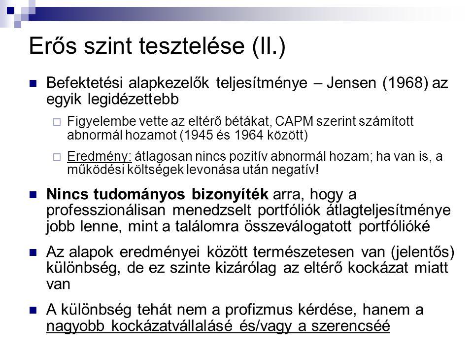 Erős szint tesztelése (II.) Befektetési alapkezelők teljesítménye – Jensen (1968) az egyik legidézettebb  Figyelembe vette az eltérő bétákat, CAPM sz